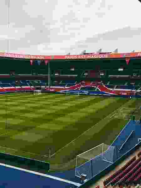 Visão interna do estádio Parque dos Príncipes, em Paris, a casa do PSG - Reprodução