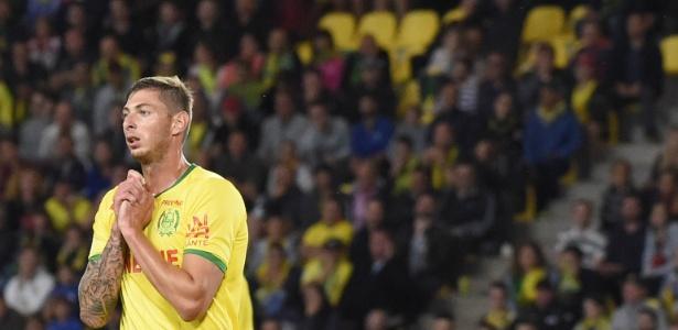 Emiliano Sala durante partida do Nantes, no Campeonato Francês - SEBASTIEN SALOM GOMIS / AFP