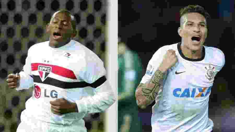 Montagem com fotos de Mineiro (São Paulo x Liverpool) e Guerrero (Corinthians x Chelsea) - AFP e Kiyoshi Ota/EFE/EPA