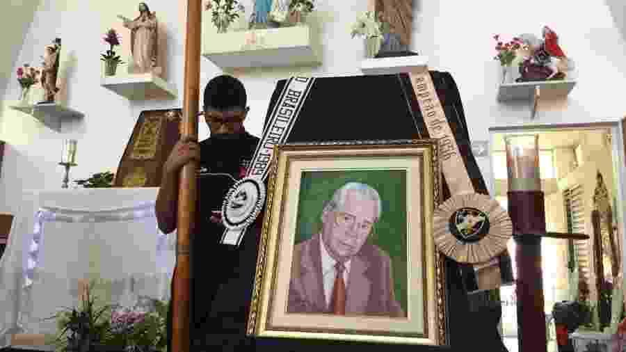 Corpo de Antônio Soares Calçada foi velado na Capela de Nossa Senhora das Vitórias, em São Januário  - Sarah Borborema/Vasco.com.br