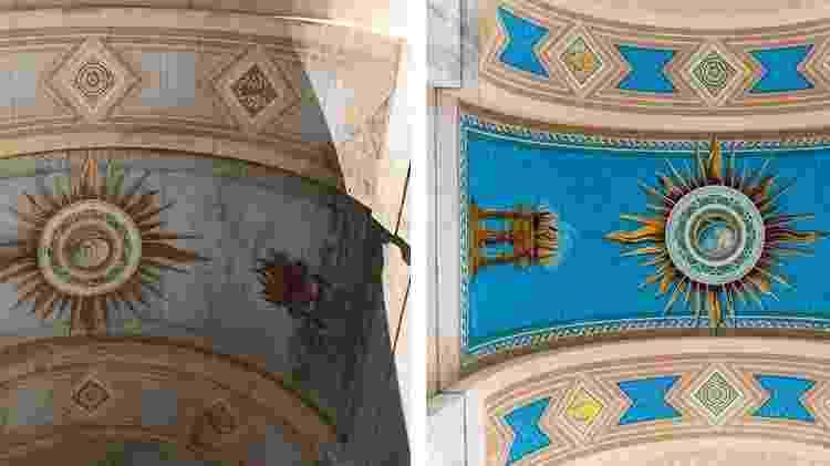 """""""Mural misterioso"""" no teto da antiga entrada principal do Los Angeles Memorial Coliseum - Divulgação/lacoliseum.com"""