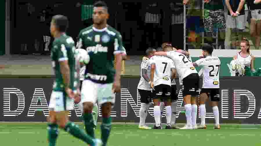 Jogadores do Atlético-MG comemoram gol contra o Palmeiras - Bruno Ulivieri/AGIF
