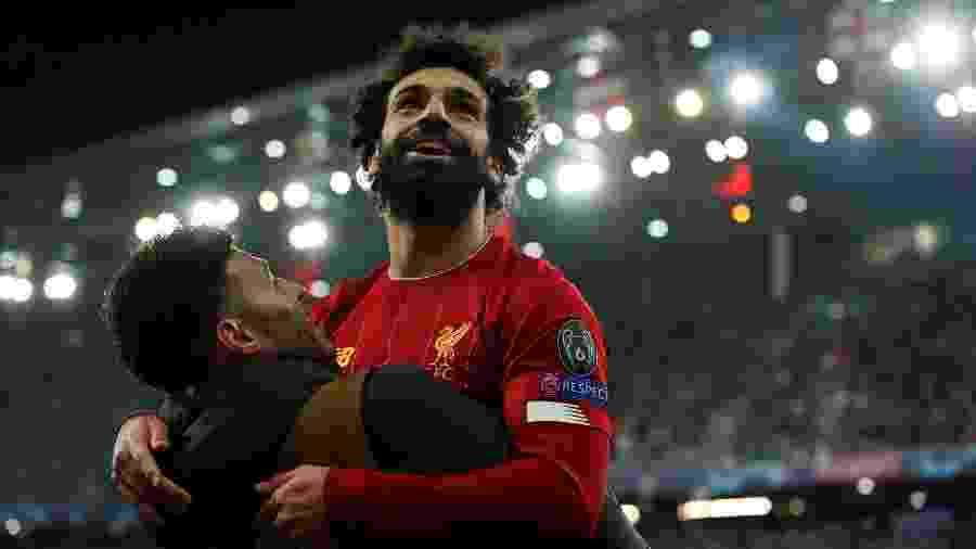 Salah comemora após marcar pelo Liverpool contra o Salzburg - John Sibley/Reuters