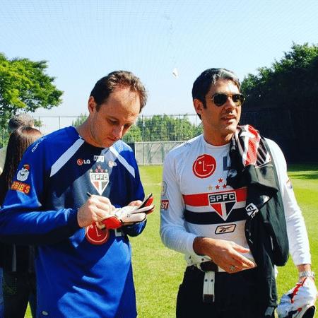 Rogério Ceni ao lado de William Bonner, em 2008 - Reprodução/Instagram