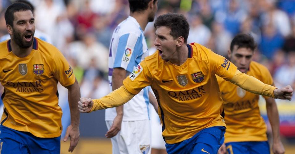 23.jan.2016 - Lionel Messi vibra após marcar um golaço acrobático na partida entre Barcelona e Málaga pelo Campeonato Espanhol