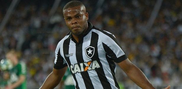 Vinícius Tanque comemora após marcar pelo Botafogo contra a Chapecoense