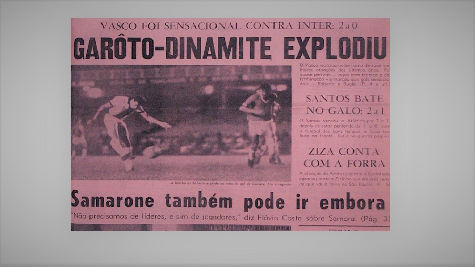 Capa do Jornal dos Sport que lançou o apelido Roberto Dinamite