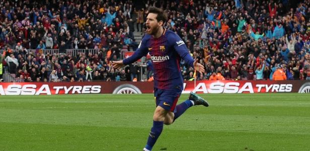 Messi comemora após marcar pelo Barcelona contra o Atlético de Madri
