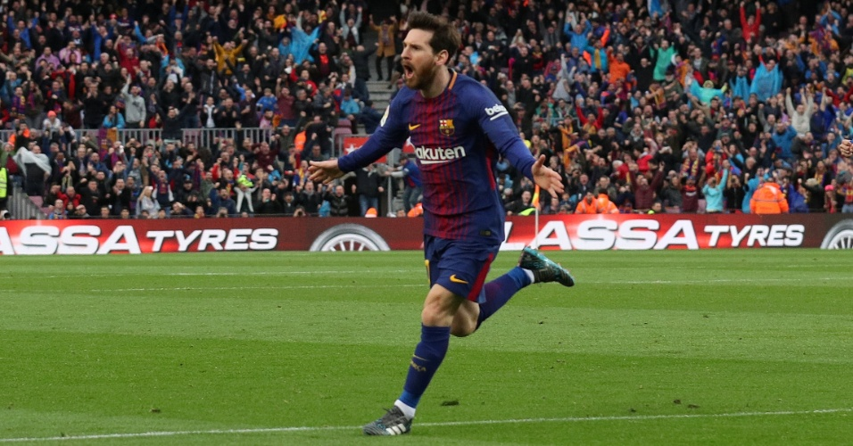 Lionel Messi celebra seu gol no Atlético de Madri