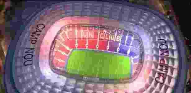 Imagem do projeto do estádio do Barcelona que prevê ampliação para mais de cem mil pessoas - Reprodução Twitter