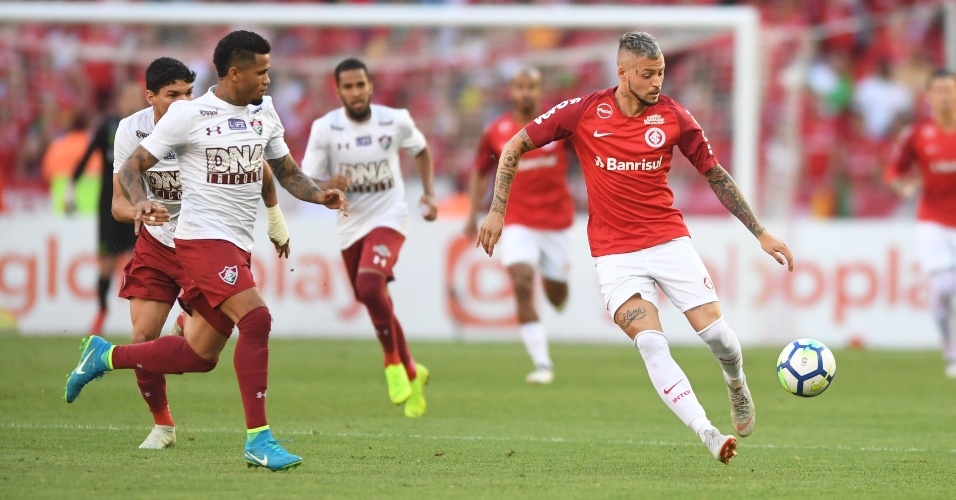 Nico López, durante partida entre Internacional e Fluminense