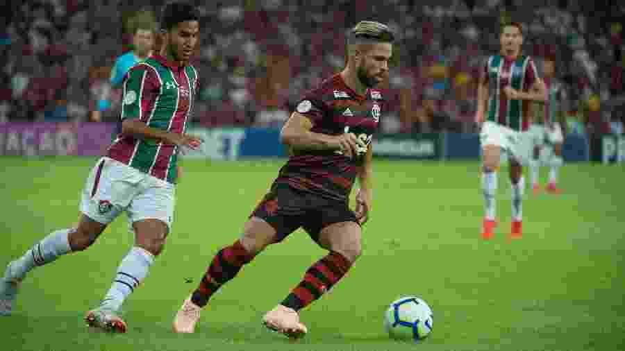 Igor Julião marca Diego Ribas na partida Fluminense x Flamengo pelo Campeonato Brasileiro 2019 - Alexandre Vidal/Flamengo