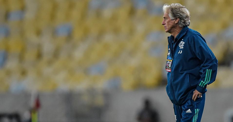 Jorge Jesus, técnico do Flamengo, na partida contra o Boavista pelo Carioca