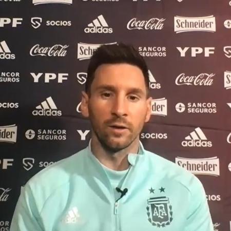 Messi dá coletiva na chegada da Argentina ao Rio para a Copa América - Reprodução/AFA