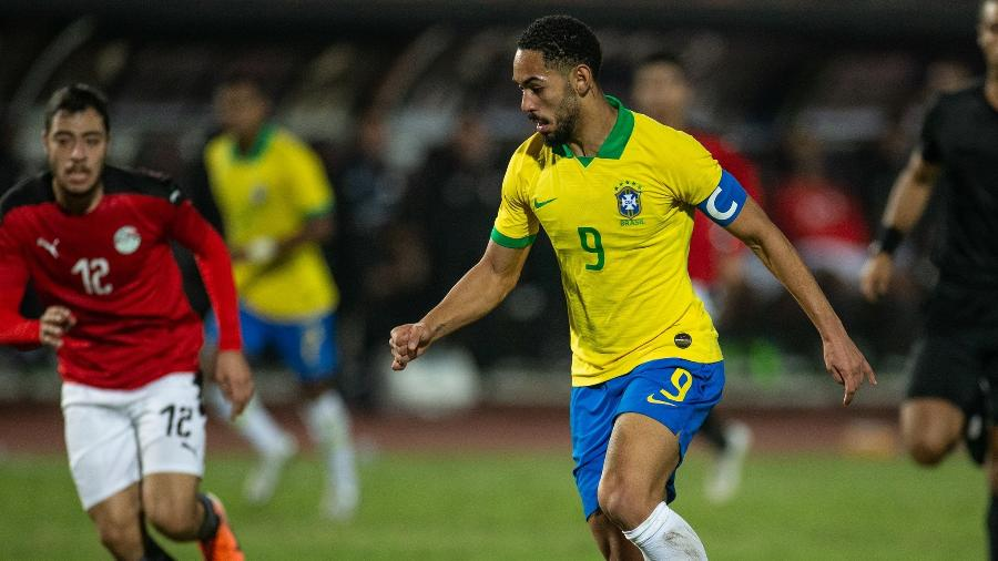 Matheus Cunha durante amistoso contra o Egito em novembro de 2020; ele fez o gol da derrota por 2 a 1 - Ricardo Nogueira/CBF