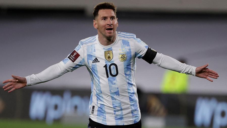 Messi comemora gol da Argentina sobre a Bolívia pelas Eliminatórias  - Juan Ignacio RONCORONI / POOL / AFP