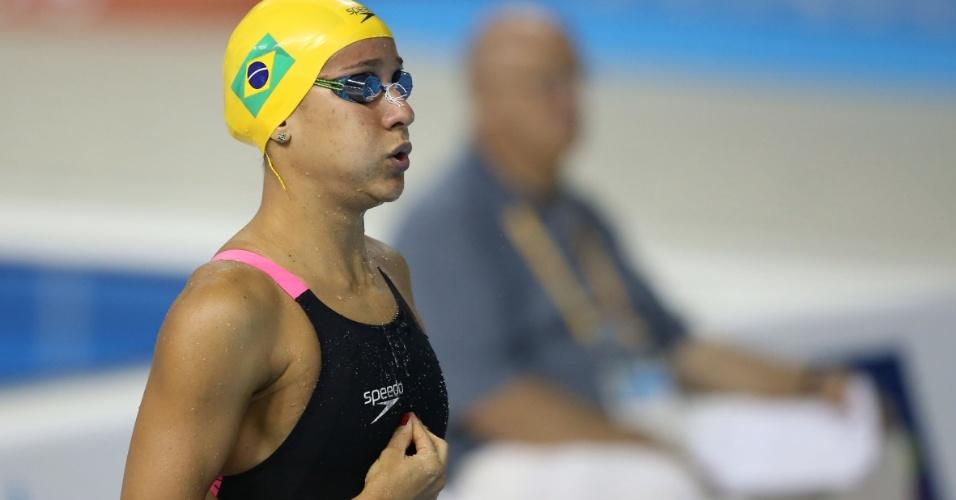 Joanna Maranhão se prepara para nadar eliminatórias dos 200 m borboleta. Ela venceu sua bateria e avançou à final com o sexto melhor tempo classificatório