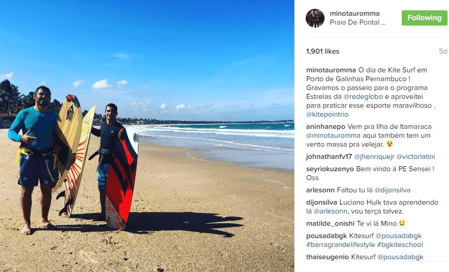 Minotauro aproveita férias de suas tarefas no UFC para gravar programa fazendo kitesurf