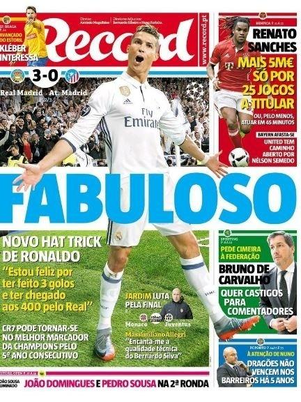 Record repercute atuação de Cristiano Ronaldo