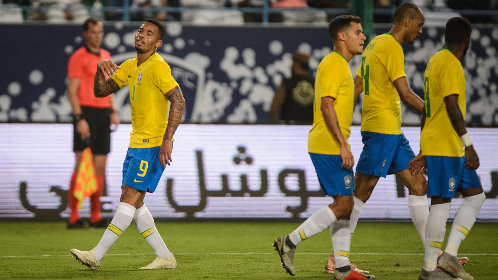 Gabriel Jesus após anotar gol da seleção brasileira contra a Arábia Saudita
