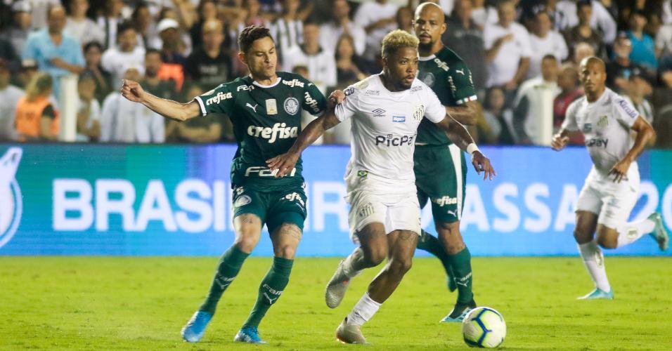 Marinho, durante partida entre Santos e Palmeiras