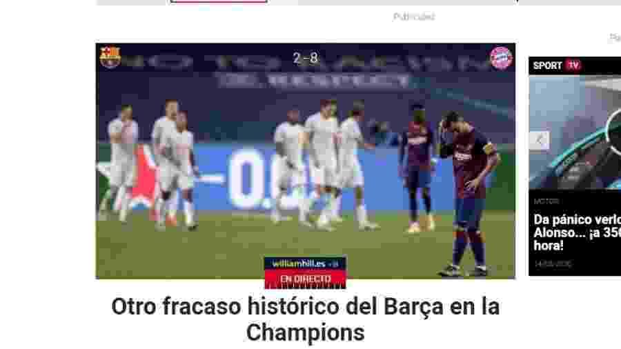 """""""Outro fracasso histórico do Barça na Champions"""", classificava o Sport antes mesmo do fim do jogo - Sport.es/Reprodução"""
