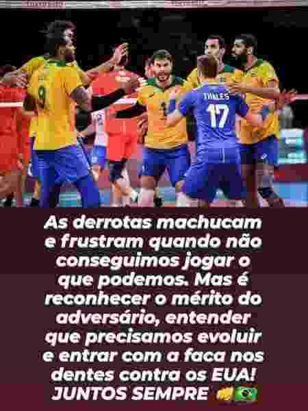 Bruninho lamenta a derrota do Brasil para a Rússia nas Olimpíadas - Reprodução/Instagram - Reprodução/Instagram