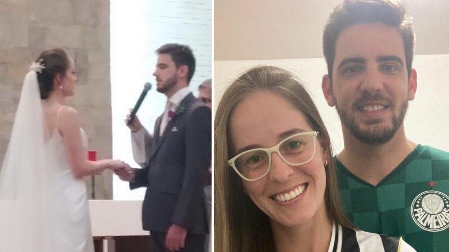 Recém-casados, Sophia e Leandro assistirão aos confrontos entre Atlético-MG e Palmeiras juntos - Arquivo Pessoal