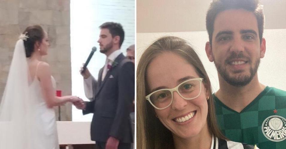 Recém-casados, Sophia e Leandro assistirão aos confrontos entre Atlético-MG e Palmeiras juntos