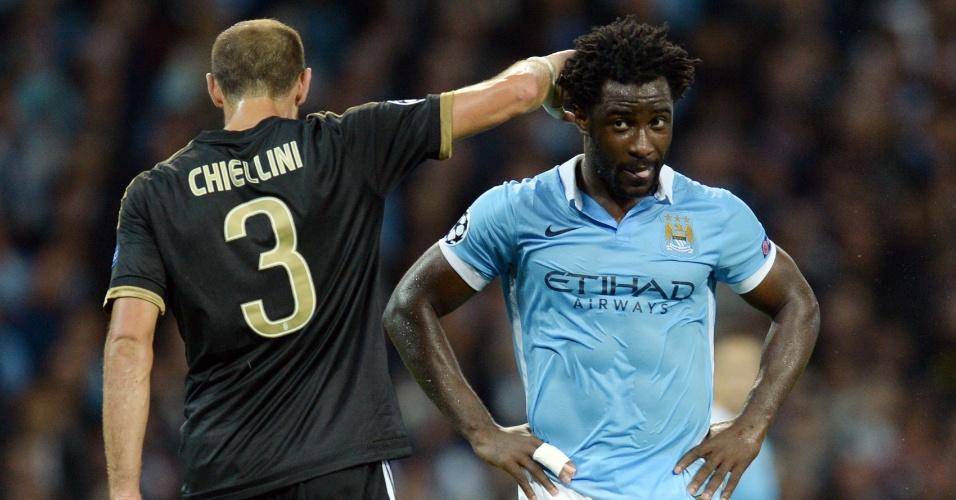 Wilfried Bony em ação pelo Manchester City na partida contra a Juventus, na Liga dos Campeões
