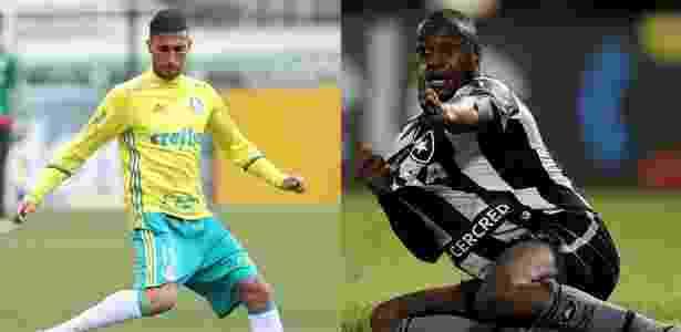Rafael Marques, do Palmeiras, e Sassá, do Botafogo, interessam ao São Paulo - Fotomontagem: Cesar Greco/Agência Palmeiras e Vitor Silva/SSPress/Botafogo.
