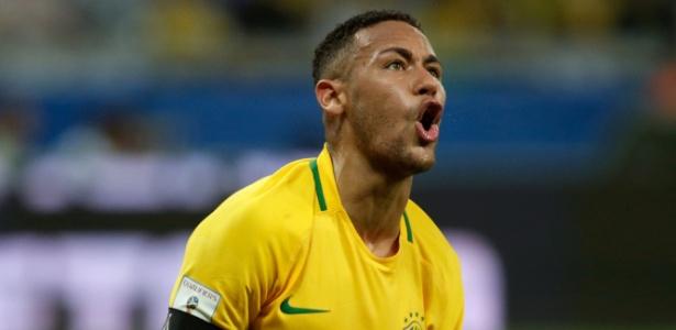 11.nov.2016 - Neymar comemora um dos gols da vitória do Brasil sobre a Argentina nas eliminatórias da Copa do Mundo-2018