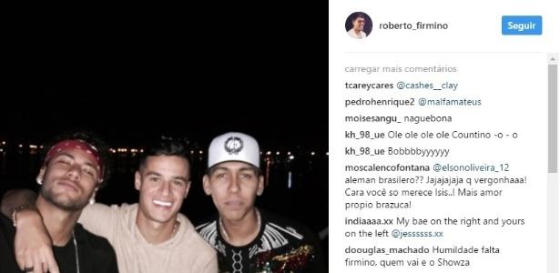 Firmino registra encontro com Neymar e Philippe Coutinho no Instagram