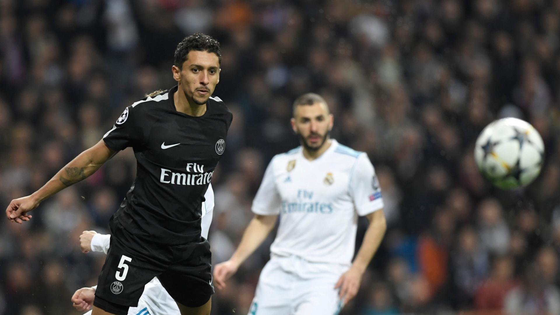 Marquinhos afasta a bola em lance de Real Madrid x PSG