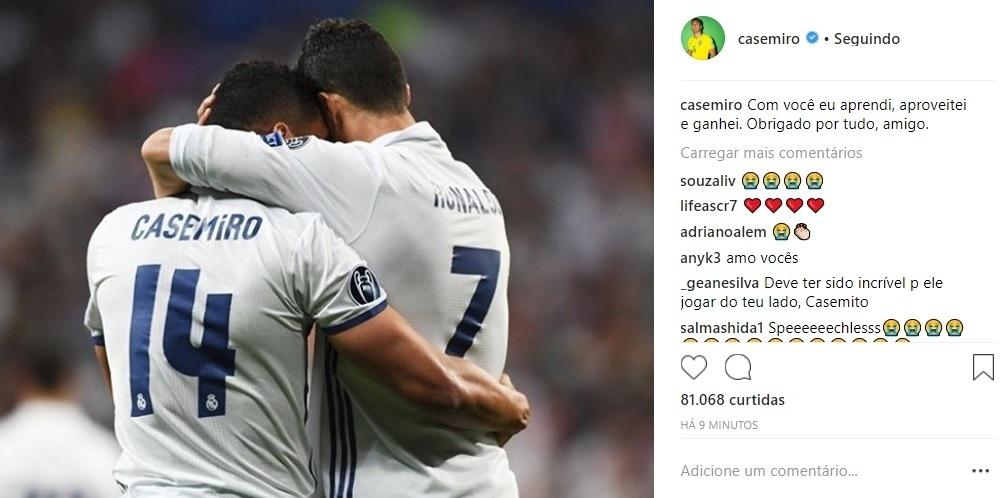 Casemiro faz homenagem a Cristiano Ronaldo: