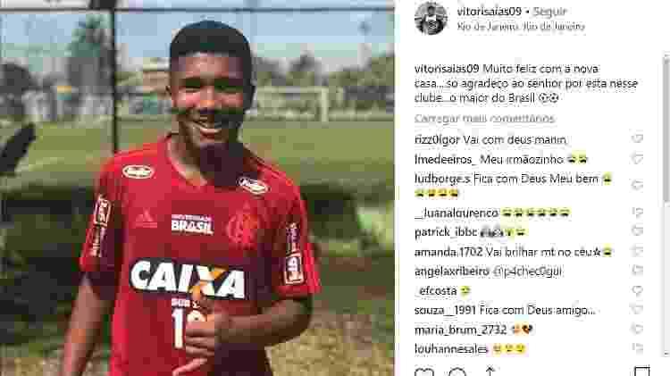 Vitor Isaías foi uma das vítimas do incêndio que atingiu o Ninho do Urubu - Reprodução Instagram - Reprodução Instagram
