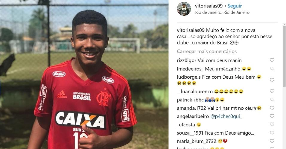 Vitor Isaías foi uma das vítimas do incêndio que atingiu o Ninho do Urubu
