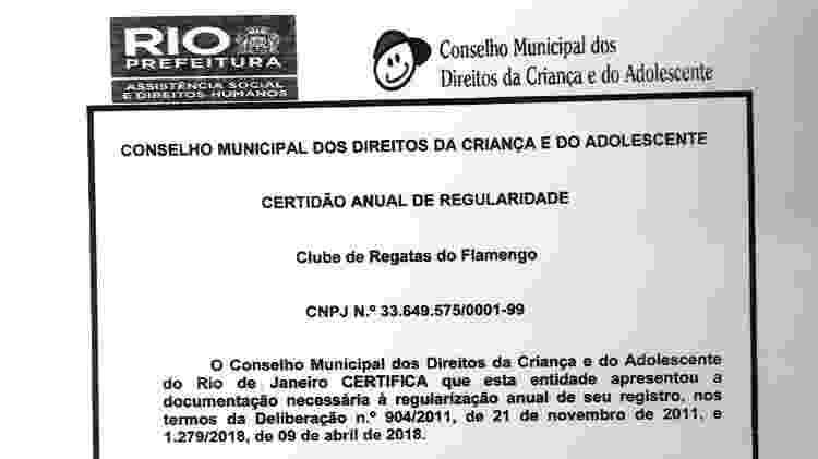 Certidão anual de regularidade emitida pelo Conselho Municipal dos Direitos da Crianaça e do Adolescente para o Flamengo, válida até abril de 2019 - Reprodução