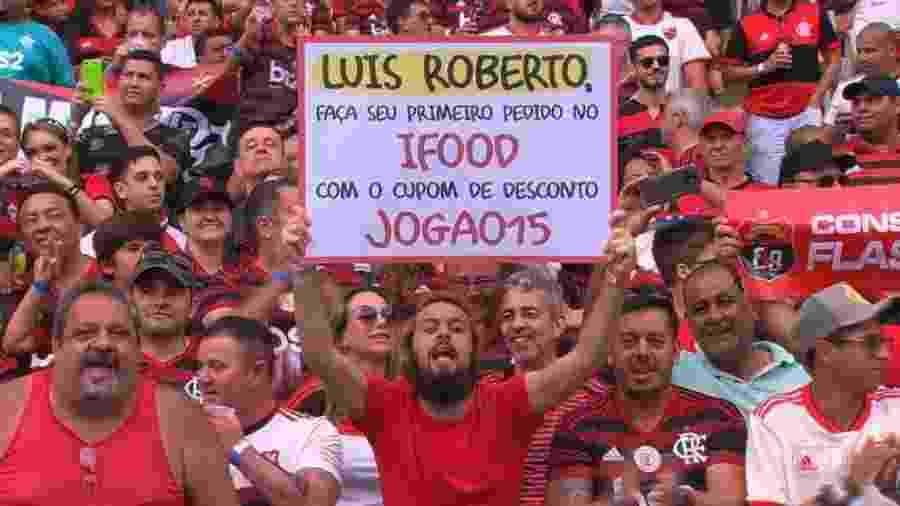 Lucas Strabko, o Cartolouco, durante o jogo Flamengo x Palmeiras - Reprodução/TV Globo