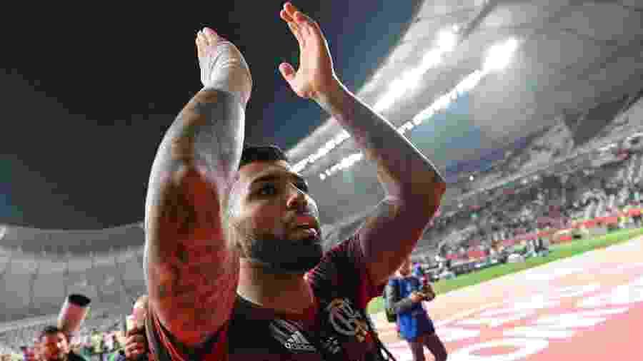 Gabigol comemora vitória do Flamengo contra o Al-Hilal, no Mundial de Clubes  - Giuseppe CACACE / AFP