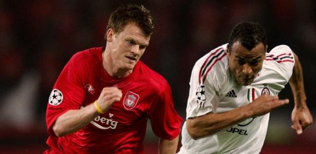 Riise em ação na final da Liga dos Campeões de 2005, entre Liverpool e Milan
