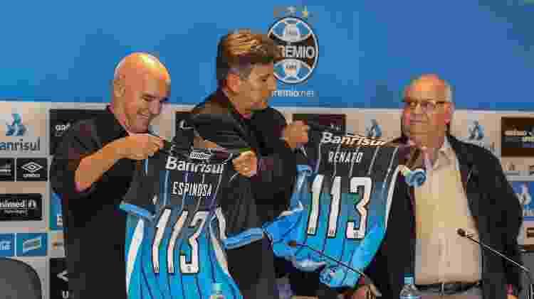 Valdir Espinosa e Renato Gaúcho apresentados no Grêmio, em 2016 - RODRIGO RODRIGUES/GREMIO FBPA
