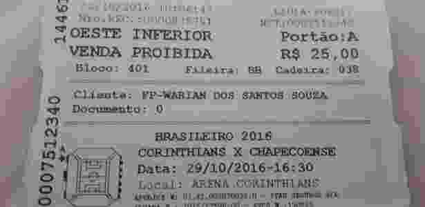 """Com marcação """"venda proibida"""", ingresso de Corinthians x Chapecoense acabou nas mãos de cambista - Reprodução"""