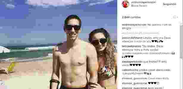 Follmann e a noiva, Andressa Perkovski, devem se casar em agosto - Reprodução/Instagram