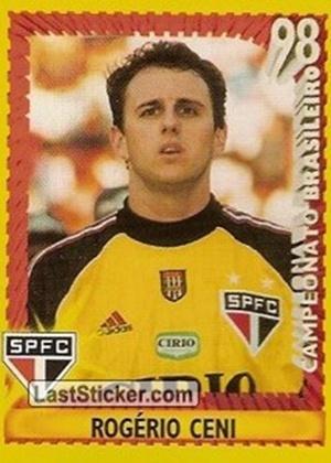 ROGÉRIO CENI, técnico do Fortaleza, tinha bastante cabelo nesta figurinha de 1998