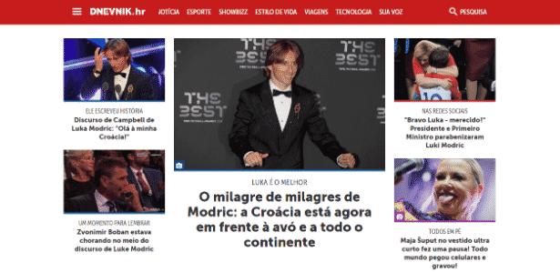Em site croata (traduzido), Modric vira manchete e ofusca tempestade (canto inferior esquerdo) e nova proposta de reforma para a previdência do país (ausente na capa) - Reprodução