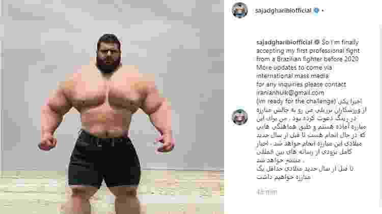 Hulk do Irã disse ter fechado acordo para lutar com brasileiro neste ano - Reprodução/Instagram