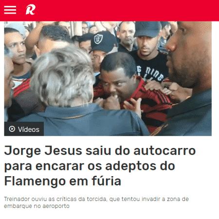 Imprensa portuguesa repercute protesto da torcida do Flamengo no Rio de Janeiro - Reprodução/Record