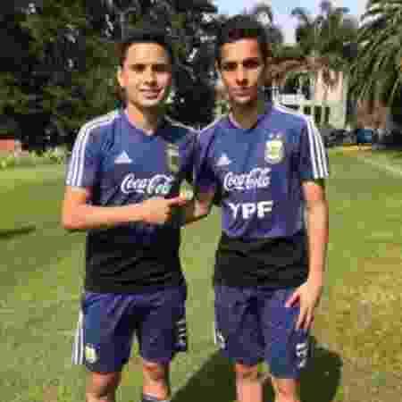 Thomas Agustin e Tobias Medina, da seleção da Argentina sub-15, durante treinos no país - Reprodução/Stories
