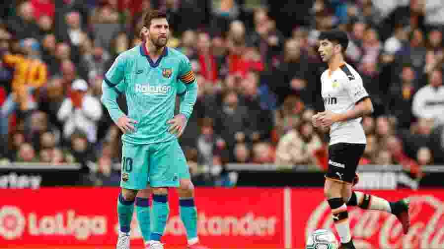Messi lamenta derrota do Barcelona para o Valencia pelo Espanhol - REUTERS/Albert Gea